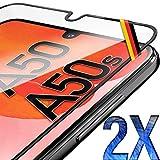 UTECTION 2X Full Screen Schutzglas für Samsung Galaxy A50 / A50s - Perfekte Anbringung Dank Rahmen - Fingerabdrucksensor kompatibel - 3D 9H Schutzfolie gegen Displayschäden, passgenaue Glasfolie