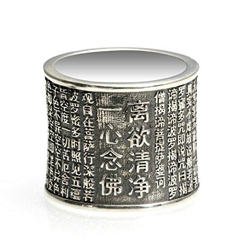 Beglie Herren Siegelring aus 925er Silber Breit Herz Sutra Chinesisch Zylinder 2CM Silber Biker Ring Bandring Schmuck für Männer 65 (20.9)