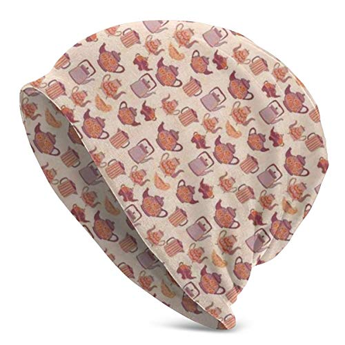 ORANGEW Top Level Beanie Men Women - Pastel Pink and Purple Shades Tea Party Theme Print with Antique Tea Cups Tea Pots - Unisex Cuffed Plain Skull Knit Hat Cap