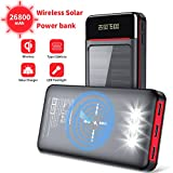 Aikove Wireless Power Bank 26800mAh Portable Solar Charger with 2 Inputs(USB C&Micro)