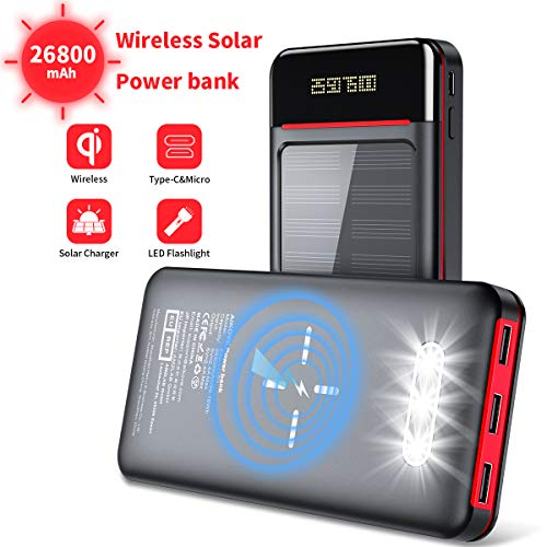 Aikove Wireless Power Bank 26800mAh Portable Solar Charger with 2 Inputs(USB C&Micro) and 3 Outputs, LCD&LED Lights, Huge Capacity External Battery Pack Compatible for Smartphones, Tablets and More