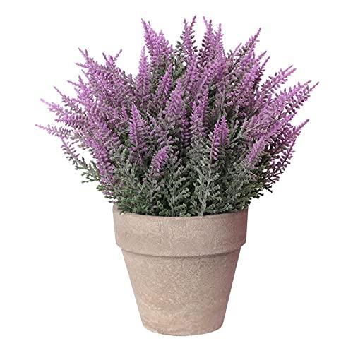 Flores artificiales con maceta, bonsái de simulación, planta simulada, simulación de pulpa en maceta de plástico morado, flores de lavanda decoración del hogar, adornos pequeños de bonsai
