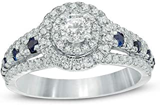 Vera Wang Engagement Ring 1.10ct Diamond Ring Blue Sapphire 925 Sterling Silver Wedding Ring for Women,All US Size 4 to 12 Available,Message Your Ring Size