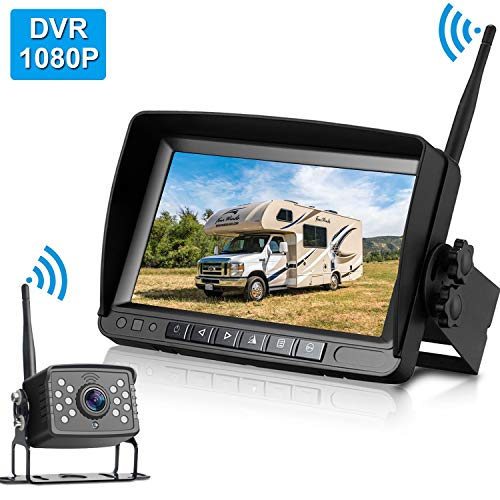 ZSMJ FHD 1080P Digital Wireless Backup Camera with 7'' Monitor Support Dual/Quard Split Screen for Trailers,RVs,Trucks,Campers High-Speed Observation System Guide Lines On/Off
