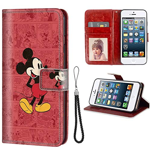 DISNEY COLLECTION Wallet Case with Magnetic Closure Fit iPhone 5c Wallpaper Tv Show Comics Cute Movies Mickey Clubhouse Mouse Art Wristlet Anti-Slip