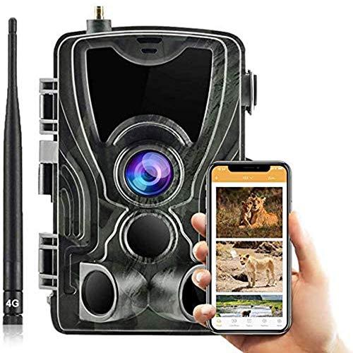 Aplicación 4G y cámara de correo electrónico MMS Trampa de caza 20MP 1080P MMS Cámara de vigilancia de vida silvestre, cámara de seguimiento IP66 impermeable, visión nocturna invisible, vigilancia, c