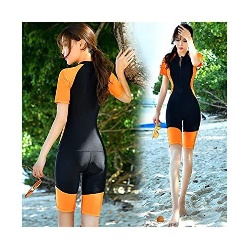 Tauchanzüge, Swimwear Neoprenanzug Frauen Sonnenschutz Nylon Beiläufige Schwimmnetzüge Surfen siamesische Tauchausrüstung (Color : Orange, Größe : 4XL)