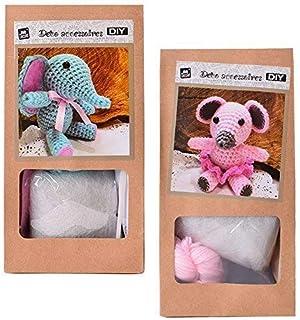 Lot de 2DIY Mini Kit crochet Kit de bricolage Crochet Animaux Souris ou éléphant soi-même Crochet et offrir 10cm Rose Turq...