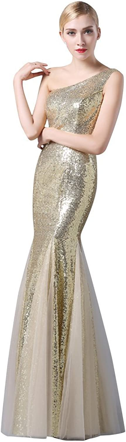 Drasawee Women's One Shoulder Mermaid Sequins Long Evening Party Dress gold