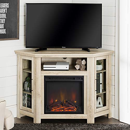 Lucas 48 inch Corner Fireplace TV Stand in White Oak