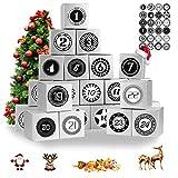 24 cajas nobles de Adviento, calendario de Adviento 2020, con 24 pegatinas de Navidad, como una bolsa de regalo de Navidad para un calendario de Adviento de bricolaje para elaborar y llenar