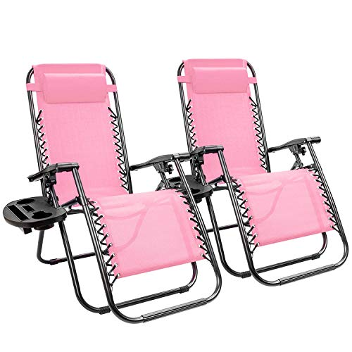 KaiMeng Zero Gravity Folding Lounge Chairs Outdoor Patio Adjustable Reclining Chair with Pillows and Cup Holders for Beach Set of 2 (Pink)