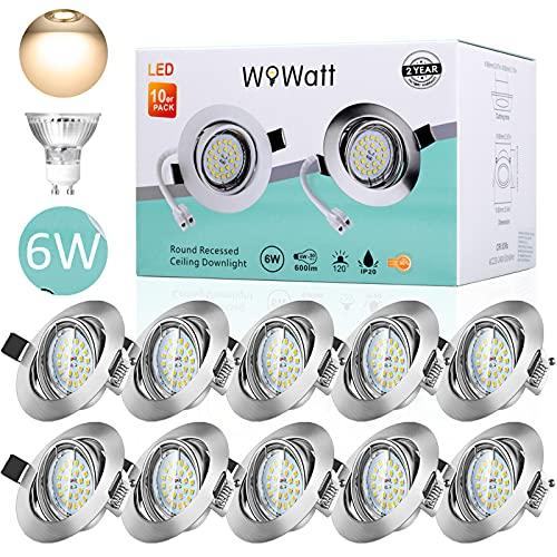 10 X Ojos de Buey de Led, Wowatt Foco Empotrable LED Techo 6W GU10 Equivalentea 50W Halogenos LED Empotrables Techo Blanco...