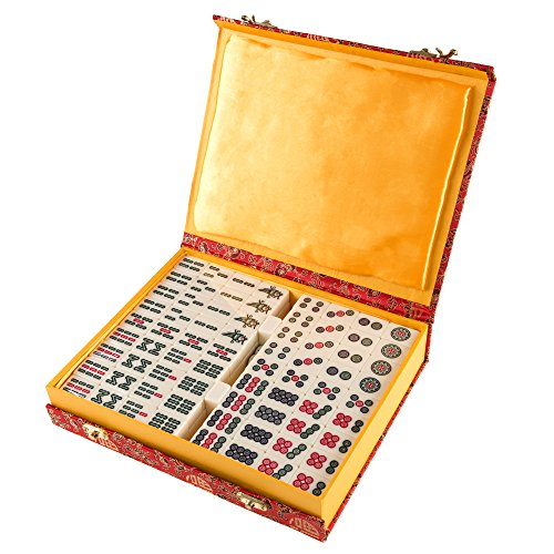 Chinese Mahjong Game Set with 146 Tiles, Dice, and Ornate Storage Case for Adults, Kids, Boys and Girls by Hey! Play!