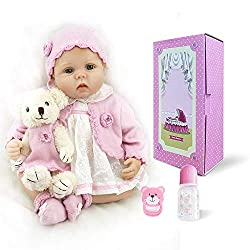 Size and Weight: Approx 22 inches (55cm) from head to toe, weights 2.8lbs approximately. Material: The baby is made of silicone vinyl&cloth. The baby has soft vinyl head and 3/4 limbs and a lovely soft cotton jointed body. You cannot bath her. Hair: ...