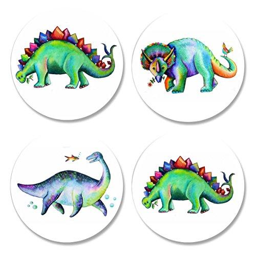 4Pack bedruckt Schneidern Schnittmuster Gewichten. Dinosaurier Designs von Künstler Maria Moos. Inspiriert von der BBC Nähen Bee. (50mm Durchmesser)
