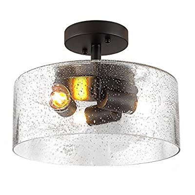 Modern Ceiling Light, 3-Lights Industrial Ceiling Lamp with Clear Seeded Glass Shade in Black Finish, Semi Flush Mount Farmhouse Hanging Light Fixture for Living Room, Hallway, Office