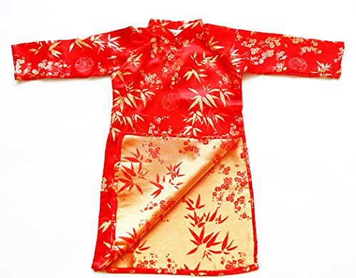 Ao Dai, Vietnamese Traditional Dress with White Pants for Children - Red Aodai/Size#6