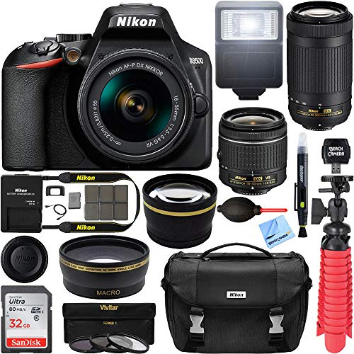 Nikon D3500 DSLR Camera with AF-P DX 18-55mm and 70-300mm Zoom Lens Bundle with 32GB Memory Card, Camera Bag and Accessories (13 Items)