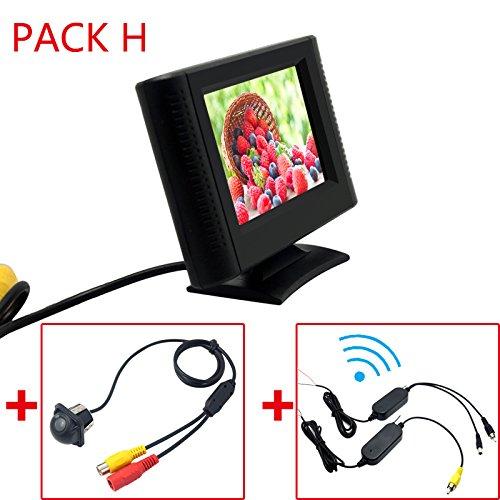 FEELDO Écran LCD TFT de 6,3 cm avec caméra de recul et système vidéo RCA 2,4 G sans fil et allume-cigare en option (H)