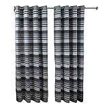 Homescapes handgewobener Vorhang Morocco grau 2er Set Ösenvorhang 167 x 182 cm (Breite x Länge) Dekoschal gestreift 100prozent Reine Baumwolle