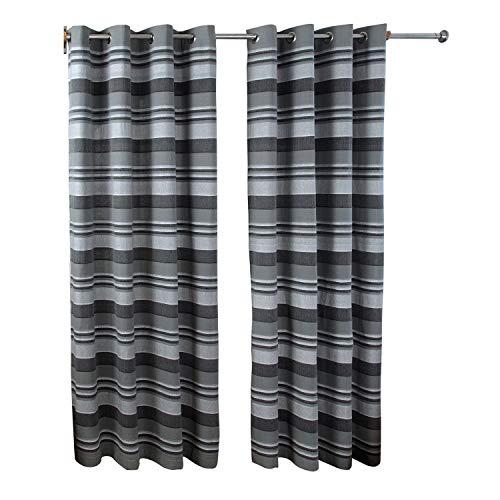HOMESCAPES par de Cortinas Decorativas a Rayas horizontales, 100% algodón, con Ojales, Color Gris 137 x 137 cm