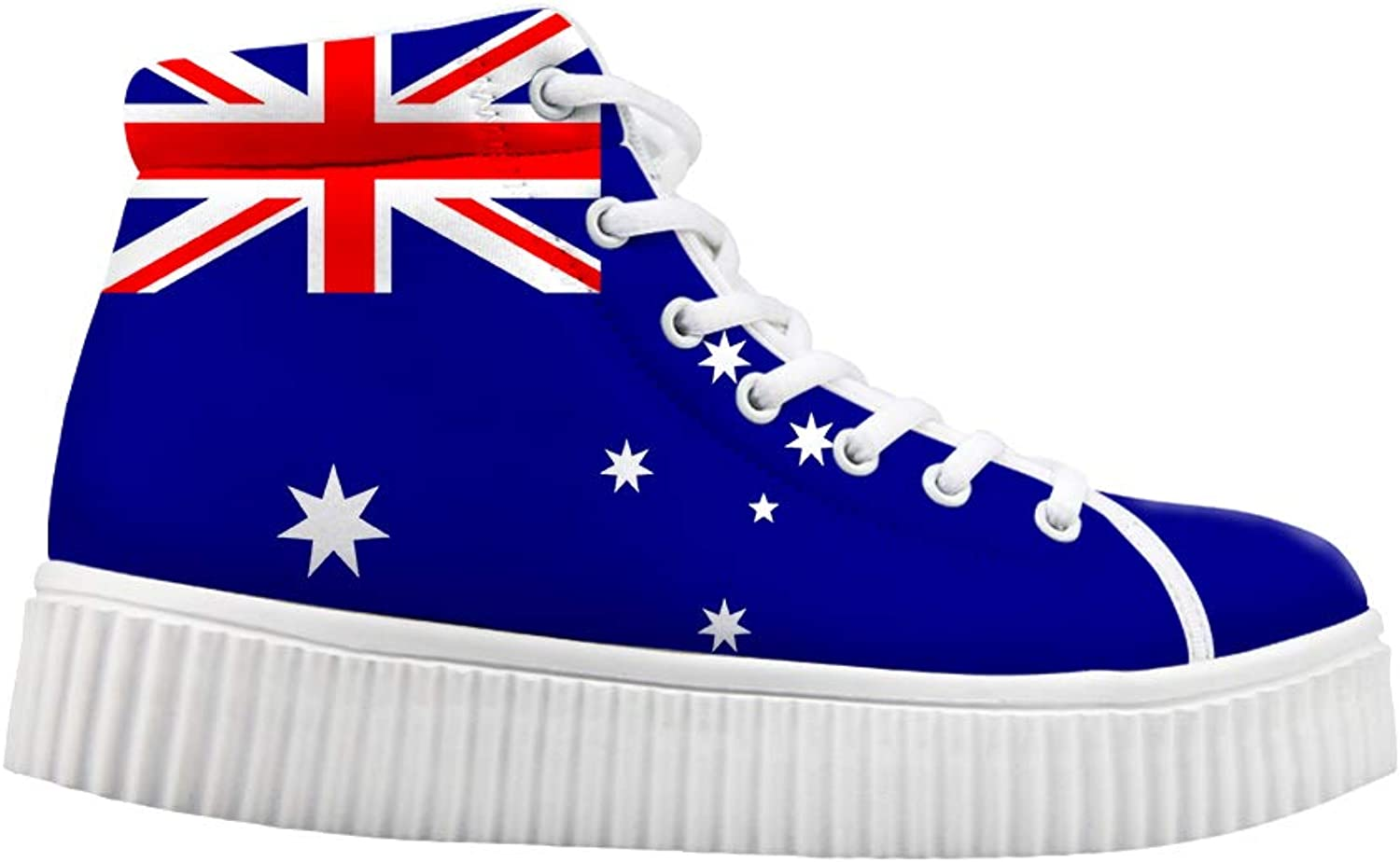Owaheson Platform Lace up Sneaker Casual Chunky Walking shoes High Top Women Australia Flag