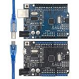 WQAZ Chip R3 CH340G + MEGA328P SMD Chip 16MHz for Arduino Uno R3 Tablero de Desarrollo Cable USB ATEGA328P One Set Bajo Consumo de energía (Color : Pink)