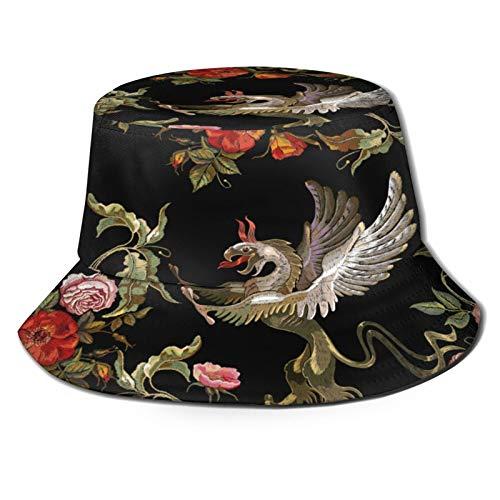 Yoliveya Sombrero de Pesca,Bordado Grifos Rosas Rojas Peonías Rosas,Senderismo para Hombres y Mujeres al Aire Libre Sombrero de Cubo Sombrero para el Sol