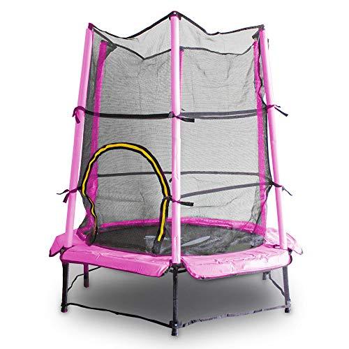 MS Point Kindertrampolin Gartentrampolin 140 cm Fitness Trampolin Komplettset für Indoor und Outdoor (Pink)