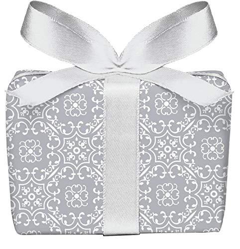 5er-Set Geschenkpapier Bögen UNIVERSAL RETRO in GRAU mit Ornamente zu jedem Anlass • Für Geburtstage, Hochzeit, Weihnachtsgeschenke, Adventskalender • Format : 50 x 70 cm