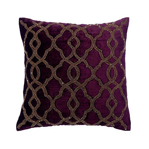 The HomeCentric Diseñador Púrpura Amortiguar, 60 x 60 cm Terciopelo Cojin, Funda de Cojín con Enrejado y celosía, Rebordeado, Geométrico Cojin, Arte Deco Amortiguar - Estrellas