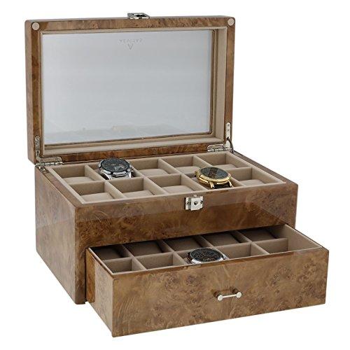 Horloge Collectors Box voor 20 polshorloges in licht Burl Wood door Aevitas