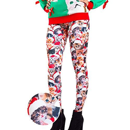 LOPILY Hosen Damen für Weihnachten Weihnachtskatzen Gedruckte Leggings Hoch Tailliert Lustig Weihnachten Strumpfhosen mit Stocking und...