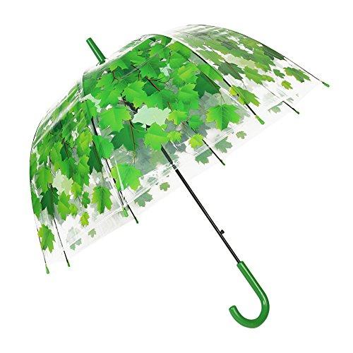Regenschirm Transparent Hochzeitsschirm Klar Regenschirm Durchsichtiger Kuppel Glockenschirm mit Farbe koordinierte Griff und Automatischemnopf (Grün)