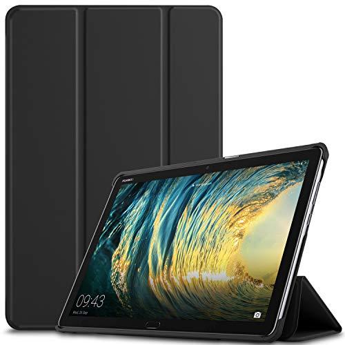 IVSO Funda Carcasa para Huawei MediaPad M5 Lite 10, Slim PU Protectora Carcasa Cover para Huawei MediaPad M5 Lite 10.1 Pulgadas, Black