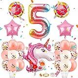 Herefun Einhorn Geburtstagsdeko, Einhorn Folienballon Geburtstagsdeko für Mädchen, Einhorn Ballon, Einhorn Party Happy Birthday, Einhorn Party Dekorationen Supplies für 1 Geburtstag (5)