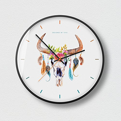 WuuLii Decor Horloge Murale - Horloge Murale Décor - Horloge Décorative pour Salon, Chambre Horloge Murale Silencieuse sans Couturière Art Petit Frais Créatif, 14 Pouces, 01