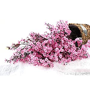 None-branded 4Pcs Artificial Flowers Cherry Blossom Simulation Peach Branches Flowers Fake Silk Peach Flowers Sakura Bouquets Faux Peach Fake Plants for Wedding Home Indoor Decorative (Pink)
