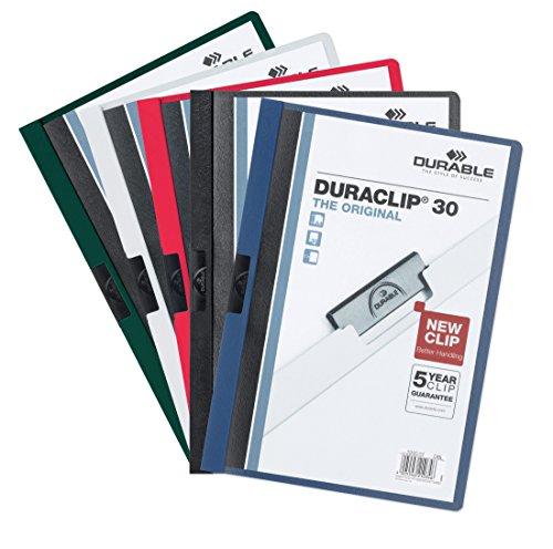 Durable 222700 Klemm-Mappe Duraclip 30 SB-Verpackung, Beutel mit 5 Stück farbig sortiert