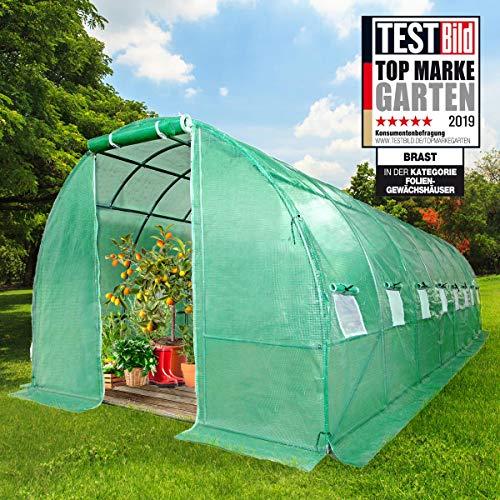 BRAST Gewächshaus mit rostfreiem Stahlfundament 300x800cm 24m² Garten Tomaten Pflanzen-Haus Treibhaus Foliengewächshaus