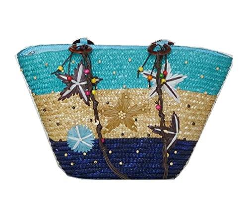 Bohemisk handbroderad sjöstjärna stråväska pärlvävd handväska axelväska