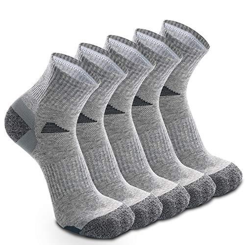 5 Paar Laufsocken Sportsocken Funktionssocken für Herren Damen Münner Dünn Kompression Unterstützend und Klimatisiert Atmungsaktiv (EU 43-46, Grau - 5 Paare)