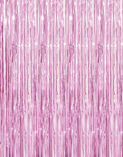 GOER 3.2 ft x 9.8 ft Metallic Tinsel Foil Fringe Curtains for Party Photo Backdrop Wedding Decor (Light Pink,1 Pack)