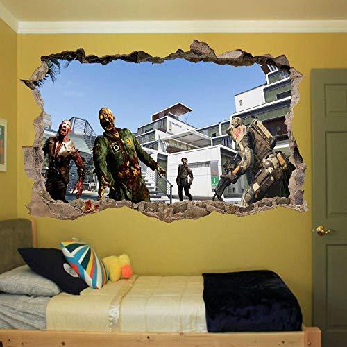 Pegatinas de Pared 3D Ejército Soldado Zombie Arte Efecto Poster Calcomanía Mural