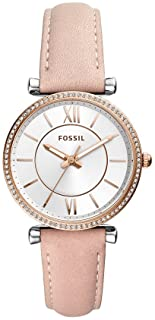 Fossil Carlie Women's Silver Dial Leather Analog Watch - ES4484