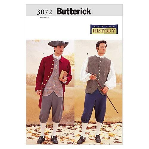 Butterick B3072 Revolutionary War Historical Men's Costume Sewing Pattern, Sizes 44-48