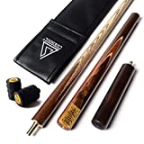 CUESOUL 3/4 Jointed Handcraft Snooker Cue 57 inch with Extension +Cue Joint Protector