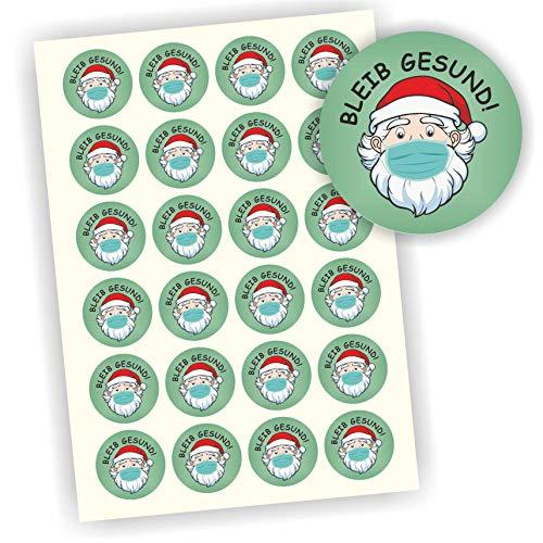 Play-Too 24 Aufkleber Etiketten Bleib gesund Weihnachtsmann mit Maske 40mm
