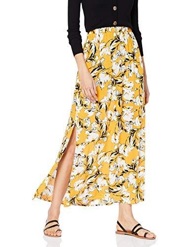 Falda amarilla con flores. (amarillo oro)